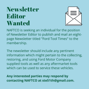 newsletter editor wanted - ford tool collector